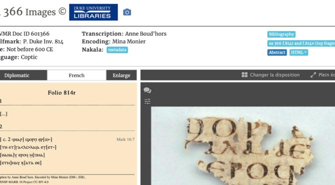 MARK16 update: Codex Bobbiensis article, and 2 new manuscripts online